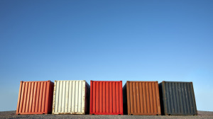 Five shipping containers