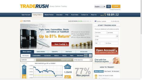 Traderush binary trading review