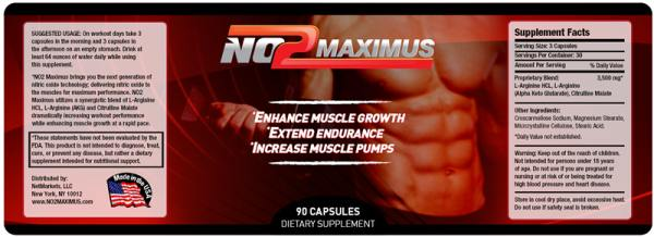 No2 maximus ingredients